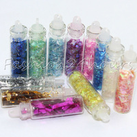 New 12 Mixed Colors Nail Art Glitter Polygon Paillette Glitter Decoration Free Shipping