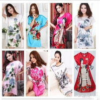 2013 New Chinese Peony nightgown pajamas women's sleeveless silk nightgown plus size sexy silk sleepwear Freeshipping wholesale
