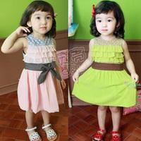 2013 summer polka dot the appendtiff laciness girls clothing baby child qz-0048 chiffon tank dress