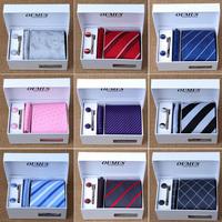 Free Shipping wholesale 6pcs/set gift box polyster ties Men's Ties Necktie Plaid Stripe Mans Tie Neckties