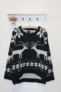 рождество лося 13 мультфильм оленей повседневная все- матч пряжи и свободные свитера верхняя одеёда женский пуловер