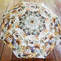 Vintage HARAJUKU cat pattern sun protection umbrella anti-uv