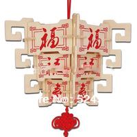 2015 New Promotion 5 pcs/lot Children Educational Gift popular handmade Lantern 7 decoration 3D diy wooden puzzle toys WJ0081