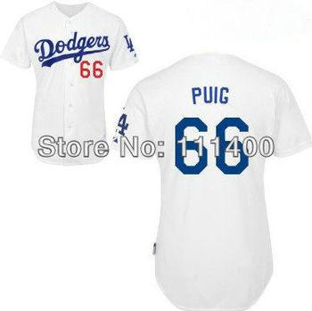 Free Shipping Womens Los Angeles Jerseys #66 Yasiel Puig White Jersey women Baseball Jerseys Embroidery Logos Size:S-XL can mix