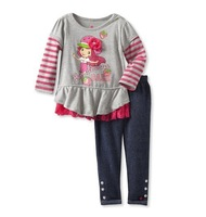 Drop Shipping Brand New Cotton girls autumn Clothing sets kids Strawberry Shortcake Suits Long Sleeve Clothing sets for girls