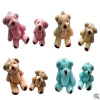 40pcs/lot 4.5cm=1.7inch plush toy naked mini joint teddy bear cartoon bouquet material wedding gift 4COLORS mix order