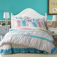 korean style princess white pink blue frill cotton girls bedding set 4pcs king/queen quilt comforter duvet covers bed linens