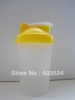 BPA FREE Yellow 400ml  shaker bottle  protein bottle with 18-8 stainless steel  blender mixing ball