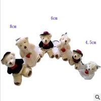4.5cm plush stuffed toy small mini wedding dress bear teddy bear wedding gift 50pairs/lot
