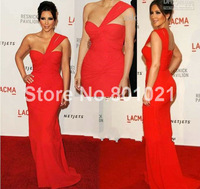 celebrity dresses evening gown kim kardashian dress red carpet gowns slight mermaid red pleat one shoulder pleat floor length