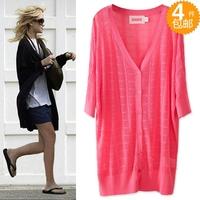 2013 fashion spring and summer cutout cardigan loose medium-long plus size casual all-match net shirt