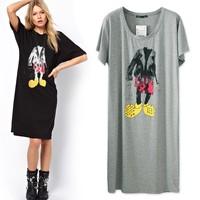 Mickey MOUSE 2013 summer loose plus size fashion cotton medium-long short-sleeve dress