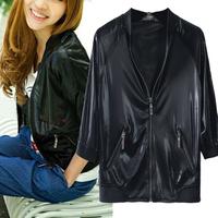 Fashion street style vitality short design serpentine pattern jacket motorcycle handsome half sleeve thin cardigan Women
