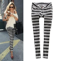 2013 spring and summer fashion rhombus black-and-white dimond plaid fashion chessboard pants casual ankle length trousers