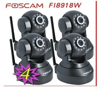 4pcs Foscam CCTV WiFi Wireless Pan/Tilt IR IP Camera FI8918W 2-Way Audio iphone View Black free dhl and fedex and ems