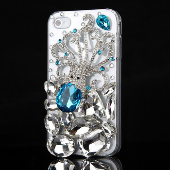 Luxury 3D Bling Handmade Octopus Crystal Diamond Case Cover For iPhone 4 4S 5