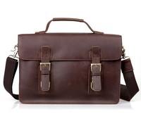 Bronw Genuine Leather Men's Messenger Shoulder Briefcase Laptop Bag Handbag Purse  Top Quality Free Shipping