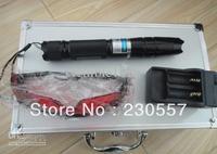 High Power 30000MW adjustable focus blue laser pointer heads of flashlight+ glasses+Aluminum box