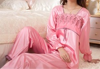 2013 New style Ladies' pajamas set silk full- sleeve nightwear home clothing Wholesale JZY-10288 Freeshipping
