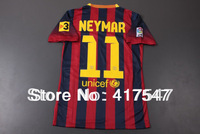 13/14 best thai quality Players version soccer jersey messi /NEYMAR/ A.INIESTA / xavi home red/blue football uniforms
