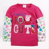 Kids  100% Cute Peppa Pig  Design T Shirt Printing Tees Children Cotton High Quality T shirt Wholesale 5pcs/lot Free Shipping!!