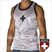 2014 brand new Mens breathable mesh vest Andrew Christian cross pattern sport vest basketball shirt S,M,L white/black free ship