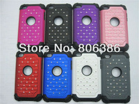 Wholesale 100pcs/lot New Fashion Bling Star Stud Combo Hard PC+Silicone Hybrid Back Cover Case For iPod Touch 4 4G GEN