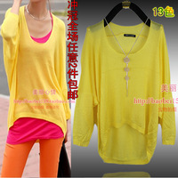 2013 o-neck thin pullover sweater plus size batwing shirt female batwing sleeve shirt loose long-sleeve sweater female
