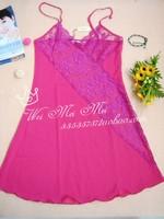 Fashion sexy women's viscose sleepwear nightgown lace sleepwear