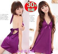 Summer silk lace spaghetti strap racerback women's temptation sexy nightgown sleepwear lounge