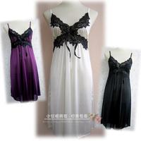 Summer women's lace spaghetti strap nightgown sexy sleepwear temptation faux silk viscose nightgown sweet female underwear 328