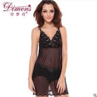 Sexy sleepwear black temptation female summer spaghetti strap sleepwear female sleepwear lace 8908