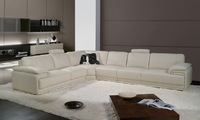 French style furniture, 2013 Latest Modern Design Large L Shaped Genuine Leather Corner Sofa Free Shipping LA097