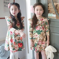 Free Shipping 2013 New Fashion Autumn Baby kids girls printing Flower Ruched Dresses Princess Party dress
