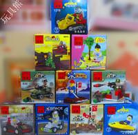 Free shipping 10pcs/lot mini 3D DIY plastic building block sets eductional bricks blocks children toys Army Space Pirates Police