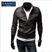 Free shipping Men 's  high quality PU leather jacket large Mandarin Collar Zipper Design men's leather coat 2 colors M L XL XXL