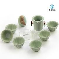 Top ceramic Tea set kung fu tea set  Calvings glaze match Glass porcelain