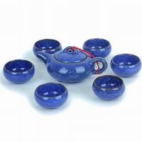 Top Yixing ceramic tea calvings glaze tea set teapot and cups    blue gem