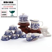 kung fu tea blue and white porcelain bone china  tureen area Combination set 8 cups a tureen a fair mug a hand holds a filter