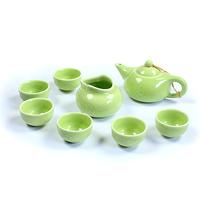 colored glaze ceramic tea  set longquan celadon   glaze match  porcelain  6 people using
