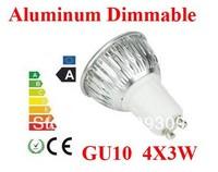 10pcs/lot Aluminum GU10  12W 4*3W   E27/MR16/GU5.3 Dimmable LED Light Bulb High Power  LED Lamp Spotlight LED Lighting