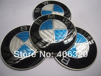 Free shipping NEW 4X 65mm blue carbon fiber Car Wheel Center Trims stickers Cap Badge