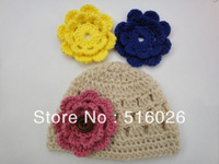Wholesale Photography Props Crochet Baby Hats Flower in Newborn Size Crochet Beanie Hat Girl 50pcs/lot