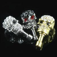Free shipping Luxury bing crystal diamond Skull Heads Dustproof Plug Decor 3.5mm For iPhone4 4s,Anti Dust Plug for iPhone 5