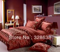 Free shipping Luxury 4pcs SILK COTTON Jacquard bedding set/Bed Linen Duvet Cover Bed Sheet/COMFORTER cover sheets bed linen Q/K