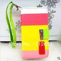 1pc New Luxury Painting Series PU Leather Wallet Case w/Holder for iPhone 4 4G 4S free shipping 5 colour