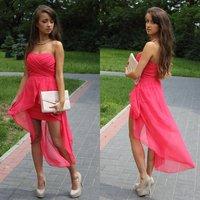 2013 New Fashion Sexy Mini Strapless Chiffon Front Short Long Back Cocktail Dresses
