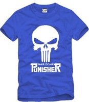Male and female lovers personality tide T movie punisher skull hanging wire strikes cotton short-sleeved T-shirt