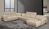 Free Shipping 2013 Latest Modern Design Large  L Shaped Genuine Leather Hard Wood Frame Corner leather sofa modern LA130-3