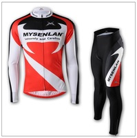 Free shipping Wholesale top grade full Sleeve Cycling Jersey+(Bib) Shorts Bike Wear /Reflective strips,hot selling   2099